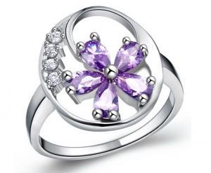 Inel Borealy Argint 925 Flower Purple Mărime 7