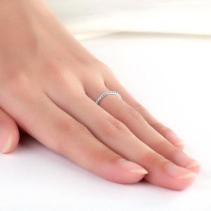 Inel Borealy Aur Alb 14 K Eternity Natural Diamonds Half Band6