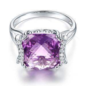 Inel Borealy Aur Alb 14 K 6,4 Ct Cushion Purple Amethyst Luxury Anniversary
