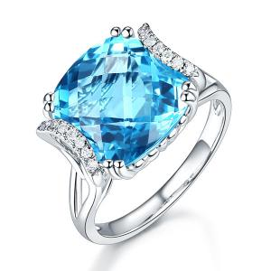 Inel Borealy Aur Alb 14 K 9.6 Ct Cushion Swiss Blue Topaz Luxury Anniversary