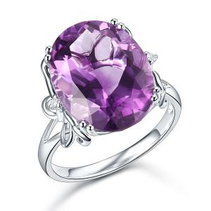 Inel Borealy Aur Alb 14 K 8,3 ct Purple Ametist Natural Luxury Butterfly