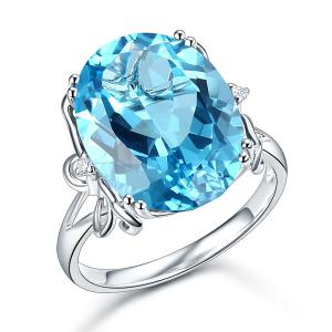 Inel Borealy Aur Alb 14 K 10,3 ct Swiss Blue Topaz Natural Luxury Butterfly