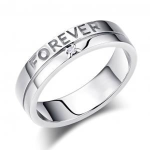 "Inel Borealy Aur Alb 14 K Natural Diamond Men's Style ""Forever"""
