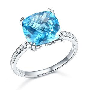 Inel Borealy Aur Alb 14 K 4.5 Ct Topaz Natural Swiss Blue Wedding