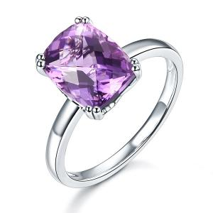 Inel Borealy Aur Alb 14 K Purple Ametist Natural 3,2 ct Wedding Engagement