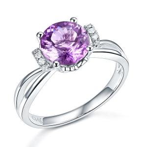 Inel Borealy Aur Alb 14 K 1,8 Ct Ametist Natural Purple Wedding Promise