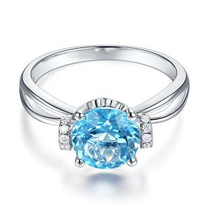Inel Borealy Aur Alb 14 K 2 Ct Swiss Topaz Natural Blue Wedding Promise marimea 5,51