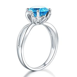 Inel Borealy Aur Alb 14 K 2 Ct Swiss Topaz Natural Blue Wedding Promise marimea 5,53