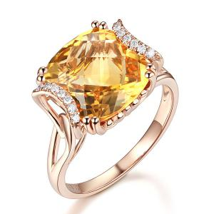 Inel Borealy Aur Roz 18 K 6 Ct Cushion Yellow Citrine Luxury Anniversary