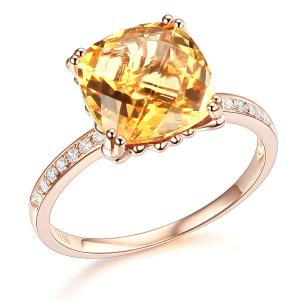 Inel Borealy Aur Roz 18 K 3.6 Ct Citrin Natural Gold Yellow Wedding