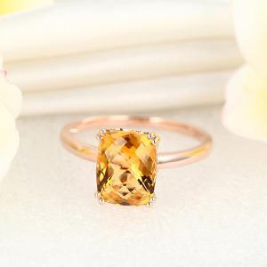 Inel Borealy Aur Roz 18 K Yellow Citrin Natural Wedding Engagement6