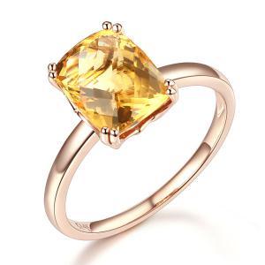 Inel Borealy Aur Roz 18 K Yellow Citrin Natural Wedding Engagement