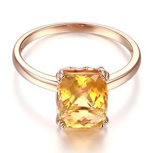 Inel Borealy Aur Roz 18 K Yellow Citrin Natural Wedding Engagement1