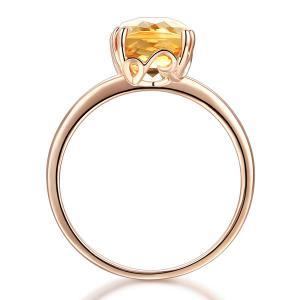 Inel Borealy Aur Roz 18 K Yellow Citrin Natural Wedding Engagement2