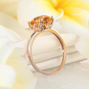 Inel Borealy Aur Roz 18 K Yellow Citrin Natural Wedding Engagement4