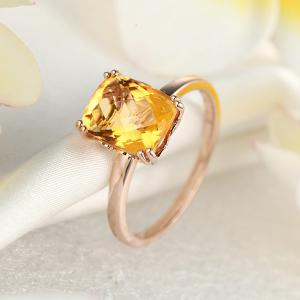 Inel Borealy Aur Roz 18 K Yellow Citrin Natural Wedding Engagement5