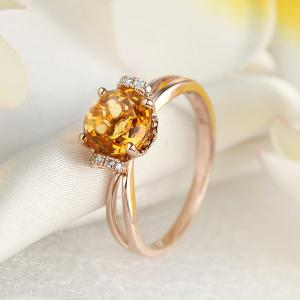 Inel Borealy Aur Roz 18 K 1,8 Ct Citrin Natural Gold Yellow Wedding Promise6
