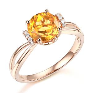 Inel Borealy Aur Roz 18 K 1,8 Ct Citrin Natural Gold Yellow Wedding Promise