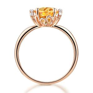 Inel Borealy Aur Roz 18 K 1,8 Ct Citrin Natural Gold Yellow Wedding Promise5