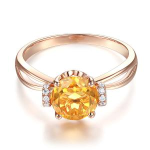 Inel Borealy Aur Roz 18 K 1,8 Ct Citrin Natural Gold Yellow Wedding Promise1