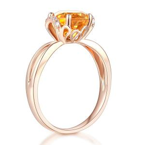 Inel Borealy Aur Roz 18 K 1,8 Ct Citrin Natural Gold Yellow Wedding Promise3