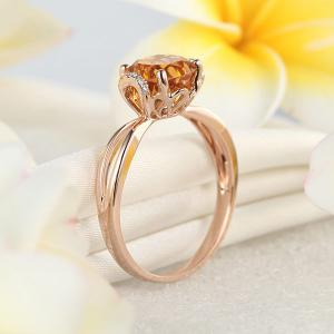 Inel Borealy Aur Roz 18 K 1,8 Ct Citrin Natural Gold Yellow Wedding Promise4
