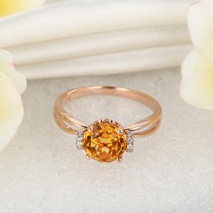 Inel Borealy Aur Roz 18 K 1,8 Ct Citrin Natural Gold Yellow Wedding Promise2