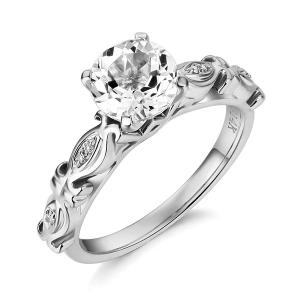Inel Borealy Aur Alb 14K 1,5 Ct Topaz Vintage Engagement Ring