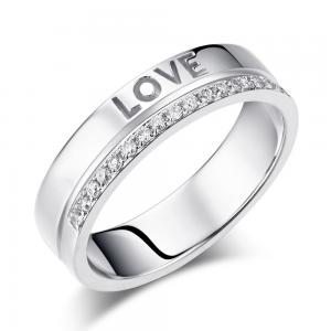 "Inel Borealy Aur Alb 14 K Natural Diamond Women's Style ""Love"""
