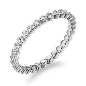 Inel Borealy Aur Alb 14 K Natural Diamonds Heart Eternity Band