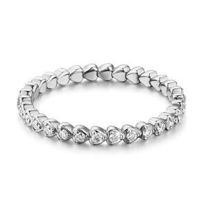Inel Borealy Aur Alb 14 K Natural Diamonds Heart Eternity Band1