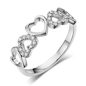 Inel Borealy Aur Alb 14 K Natural Diamonds Hearts Drawn