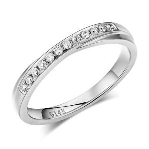 Inel Borealy Aur Alb 14 K Natural Diamonds Women's Style Twisted Band