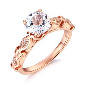 Inel Borealy Aur Roz 18 K 1,5 Ct Topaz Vintage Engagement Ring
