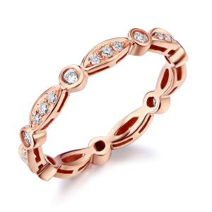 Inel Borealy Aur Roz 18 K Natural Diamonds Art Deco String