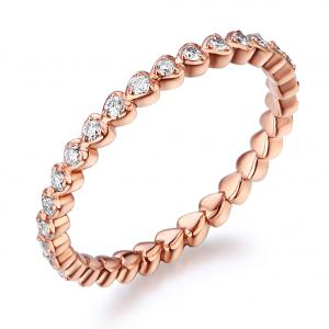 Inel Borealy Aur Roz 18 K Natural Diamonds Heart Eternity Band
