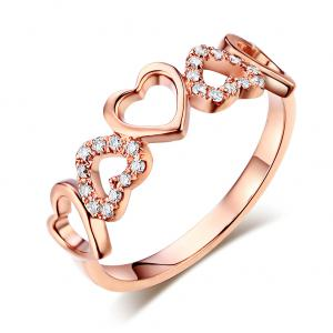 Inel Borealy Aur Roz 18 K Natural Diamonds Hearts Drawn