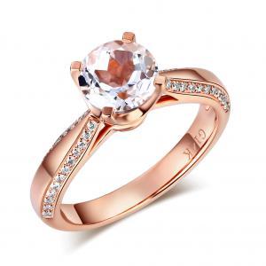 Inel Borealy Aur Roz 18 K Topaz 1,5 Ct Wedding Engagement Ring