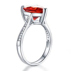 Inel Borealy Argint 925 Ruby 3.5 Carat Heart Red Bridal Engagement Marimea 52