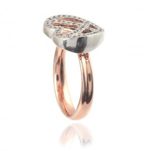 Diamond Heart White & Pink Inel Marimea 61
