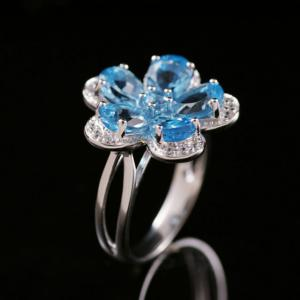 Inel Flower Blue Topaz Natural Borealy Marimea 63