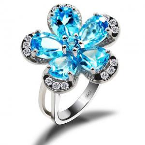 Inel Flower Blue Topaz Natural Borealy Marimea 60
