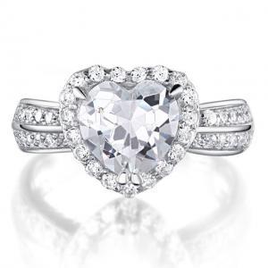 Inel Borealy Argint 925 Simulated Diamond Heart Silver Marimea 60