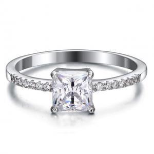 Inel Borealy Argint 925 Simulated Diamond Zirconia Logodna Princess Lux Marimea 6,50