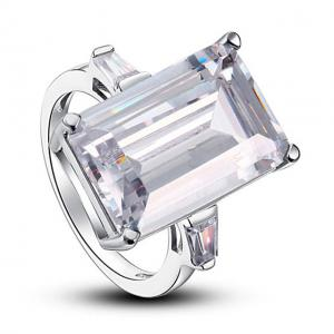 Inel Borealy Argint 925 Simulated Diamond 8.5 Carat Emerald Cut Luxe Marimea 65