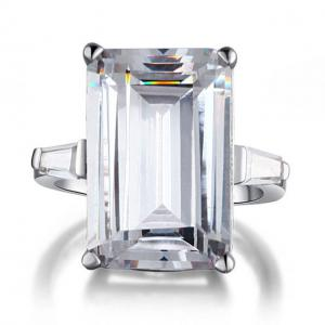 Inel Borealy Argint 925 Simulated Diamond 8.5 Carat Emerald Cut Luxe Marimea 63