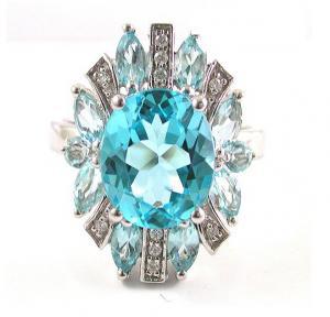 Inel Luxury Blue Topaz 6 carate - pietre pretioase naturale Argint 9251
