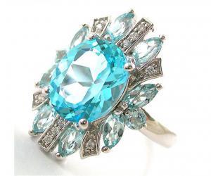 Inel Luxury Blue Topaz 6 carate - pietre pretioase naturale Argint 9250