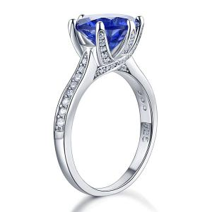 Inel Borealy Argint 925 Blue Simulated Tanzanite 3 Carat Luxury Ring Marimea 75