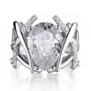 Inel Borealy Argint 925 Simulated Diamonds 4 carate Marquise Pear Marimea 70